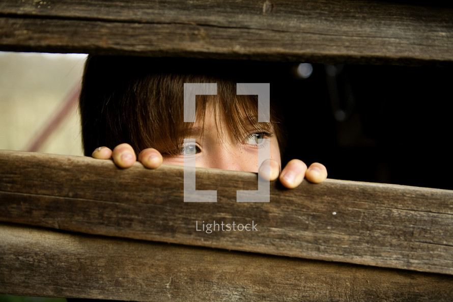 eyes of a peeping child