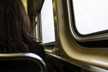 woman sitting on a subway train