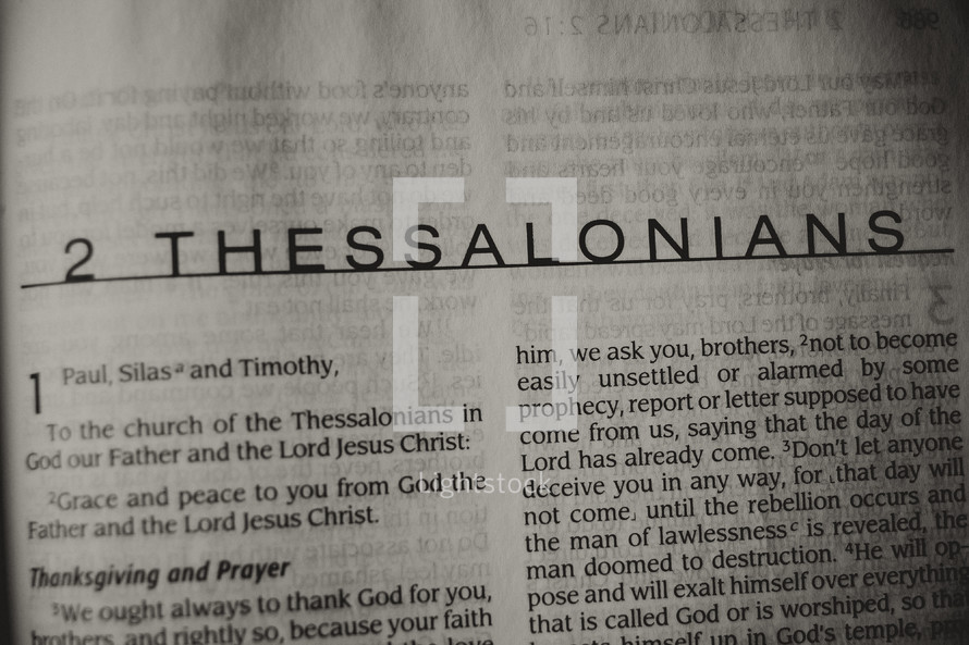 Open Bible in book of 2 Thessalonians