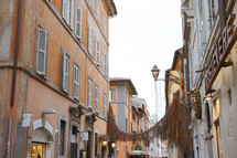 buildings along the narrow streets of Rome