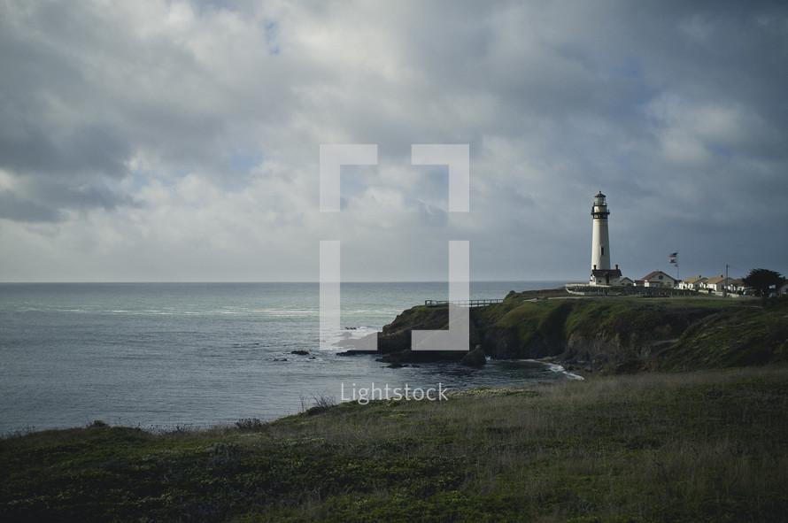 A lighthouse on the sea.