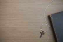 cross on a string and Bible