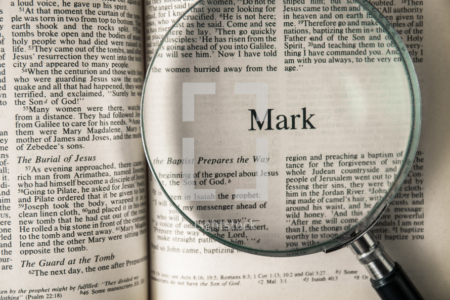 Mark under a magnifying glass