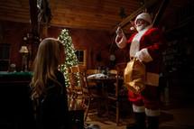 Santa waving to a child