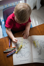 A child draws in a coloring book.
