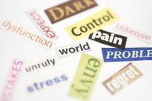 control, envy, regret, stress, dark, dysfunction, expect, problem, pain, words, lettering, labels, white background