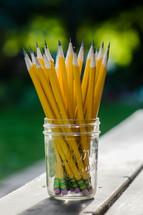 jar of sharpened pencils