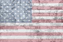 American Flag on a brick wall