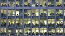 view inside of windows of an office building - editorial use only