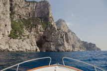 boat stern and sea cliffs