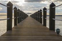 view down a long pier