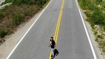 Beginning a run on the long board.