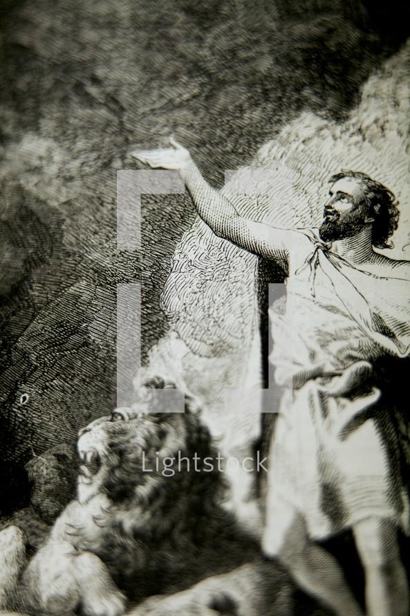 A depiction of Daniel in the lion's den