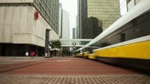 passing, commuter trains, trains, pedestrians, public transportation, city, high speed