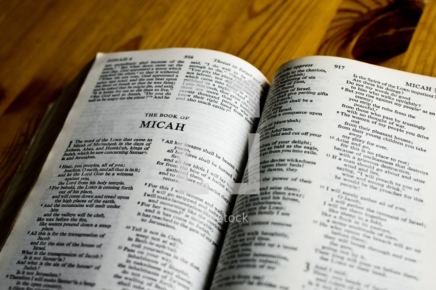 Open Bible in the book of Micah