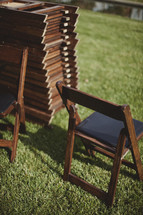 Folding chairs stacked