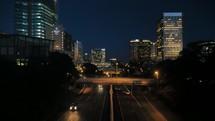 traffic on city streets at night