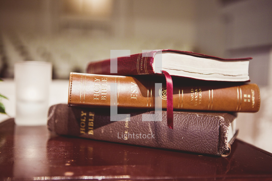A stack of Bibles