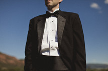 Close up of man in tuxedo