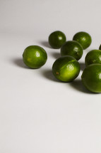 A bunch of limes isolated on white