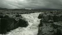 flowing water in rapids