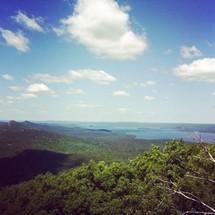 mountain range and distant lake