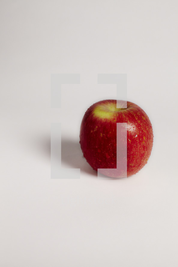 A red apple on seamless white