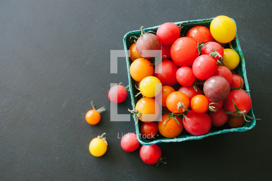 Basket of cherry tomatoes.