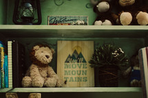 bookshelf with knick knacks