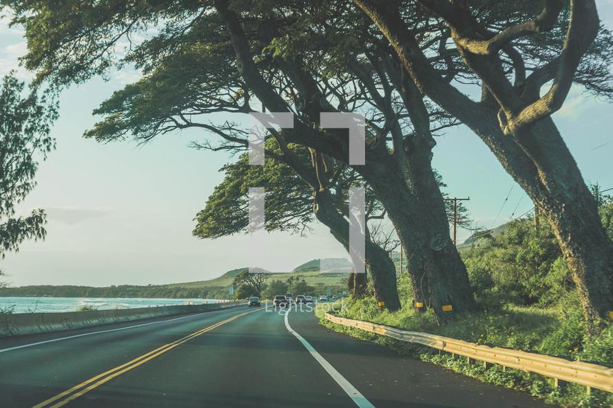 road along a shore