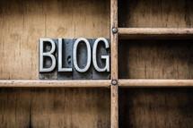 word blog on a bookshelf