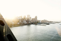 View of a city of San Francisco from bay bridge at sunset