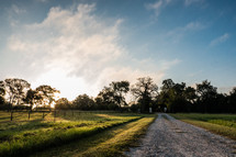 gravel road and farm land