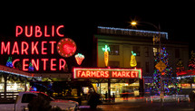 Farmers Market in neon lights