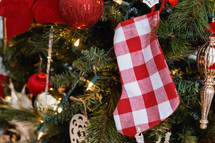 red and white plaid Christmas stocking