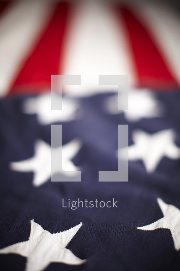The stars and stripes of an American flag