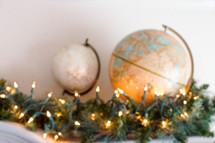 globes on a mantel