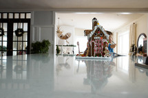 gingerbread house on a kitchen countertop