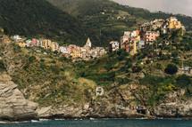 homes along a coastal mountainside