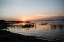 lake shore at dusk