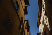 blue sky over the roofs of houses in Rome