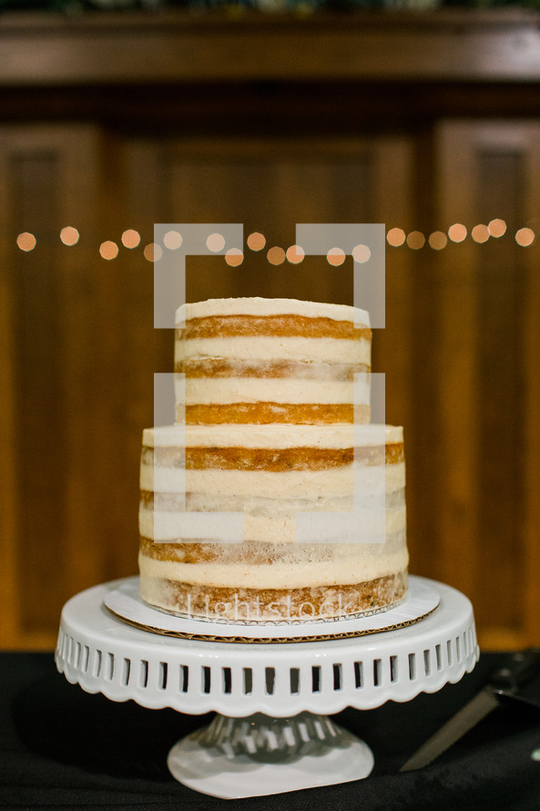 wedding cake on a stand