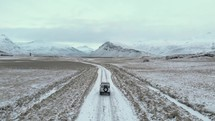 Jeep on an icy road in Iceland