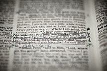 A closeup of the scripture verse John 13:34