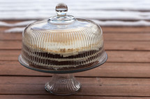 carrot cake in a cake stand