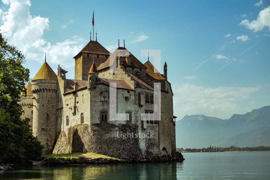 castle on the water in Switzerland