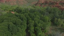 aerial view over red rock peaks in Sedona