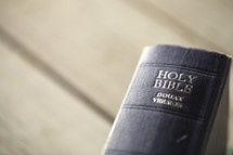 Close up of spine view of the Holy Bible