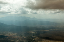 flying over mountains in Kenya