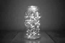 string of lights in a mason jar